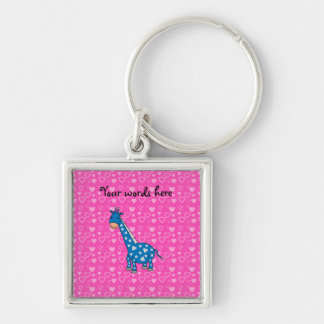 Blue giraffe pink hearts Silver-Colored square key ring