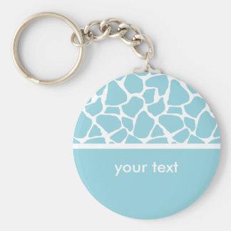 Blue Giraffe Print Customizable Key chain