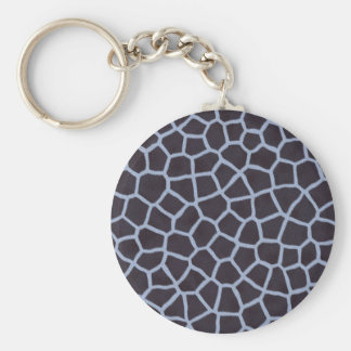 Blue giraffe print pattern basic round button keychain