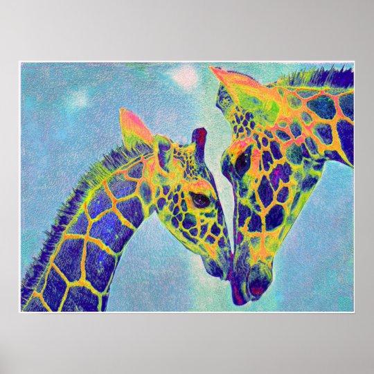 blue giraffes2 poster