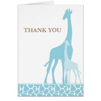 Blue Giraffes Baby Shower Thank You Card