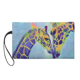 blue giraffes bag wristlet clutch