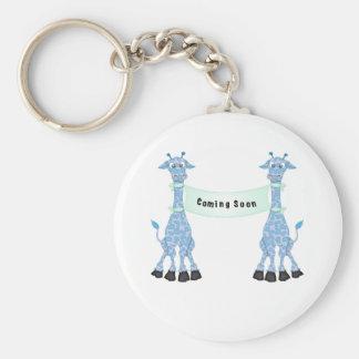 Blue Giraffes Coming Soon Key Chain
