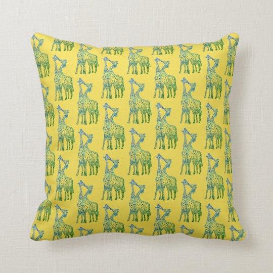 Blue Giraffes Kissing Throw Cushion Yellow