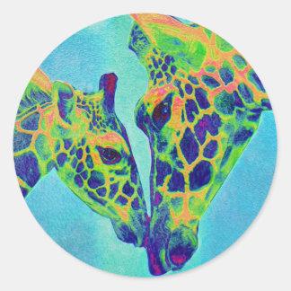 blue giraffes round sticker