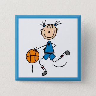 Blue Girl Basketball Player T shirts and Gifts 15 Cm Square Badge