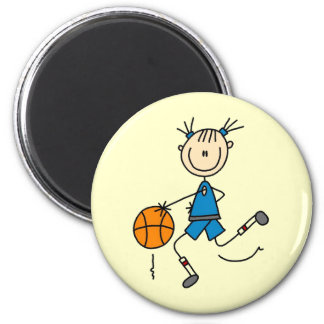 Blue Girl Basketball Player T shirts and Gifts 6 Cm Round Magnet