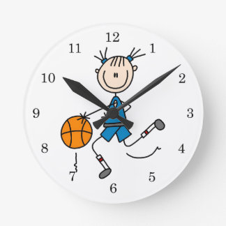 Blue Girl Basketball Player T shirts and Gifts Round Clock