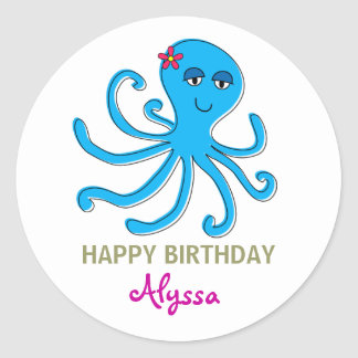 Blue Girl Octopus, Under the Sea Cupcake Toppers Round Stickers
