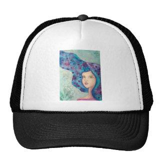 Blue girl portrait. Long hair. Whimsical painting. Cap