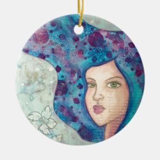 Blue girl portrait. Long hair. Whimsical painting. Christmas Ornament