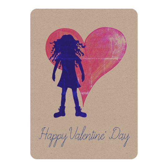 Blue girl with long curly hair and a big heart card