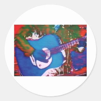 Blue Gituar Classic Round Sticker