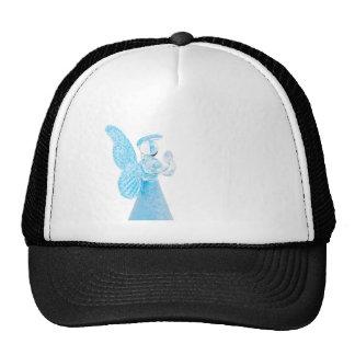 Blue glass angel praying on white background cap