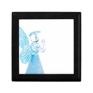 Blue glass angel praying on white background small square gift box