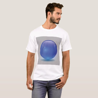 Blue Glass Ball Isolated on Grey Background T-Shirt
