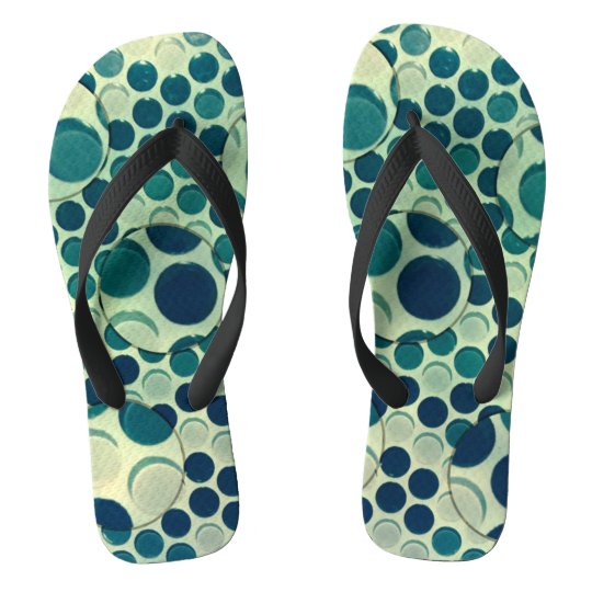 Blue glass dots magnified flip flops
