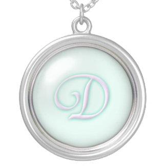 Blue Glass Monogram Necklace - letter D