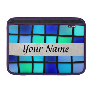 blue glass tile square sleeve for MacBook air