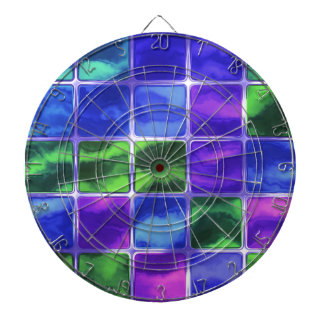 Blue glass tiles dart board