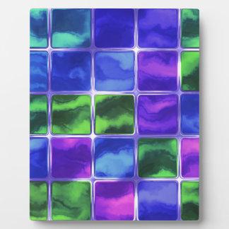 Blue glass tiles plaque