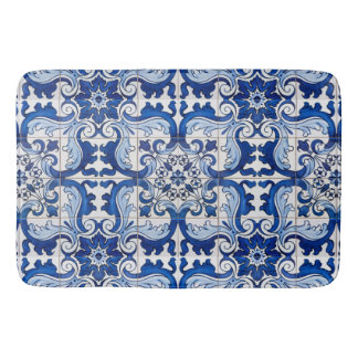 Blue Glazed Azulejo Tile Floral Pattern Bath Mats