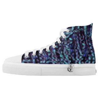 Blue glitch paint high tops
