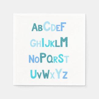 Blue Glitter Alphabet Paper Napkin