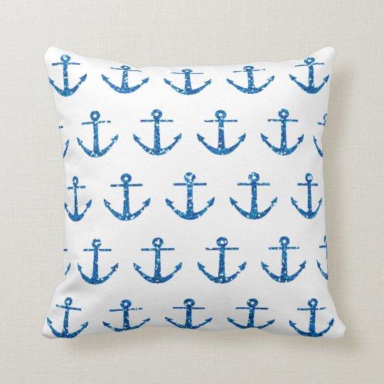 Blue Glitter Anchor Pattern Pillow