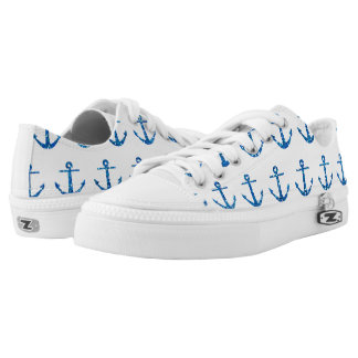 Blue Glitter Anchor Pattern Shoes Printed Shoes