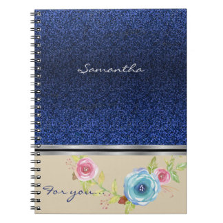Blue glitter And Colorful Floral Monogram Notebook
