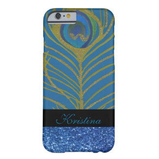 Blue Glitter and Gold Peacock Feather Pattern Barely There iPhone 6 Case