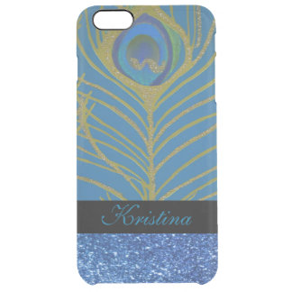 Blue Glitter and Gold Peacock Feather Pattern Clear iPhone 6 Plus Case