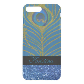 Blue Glitter and Gold Peacock Feather Pattern iPhone 8 Plus/7 Plus Case