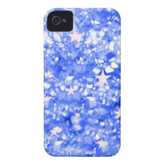 Blue glitter and stars iphone 4 barely case