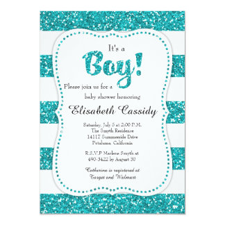 Blue Glitter Baby Shower Invitation, Baby Boy Card