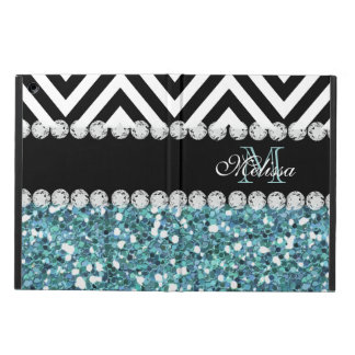 BLUE GLITTER BLACK CHEVRON MONOGRAMMED iPad AIR CASE