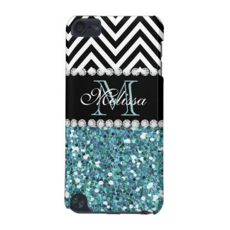 BLUE GLITTER BLACK CHEVRON MONOGRAMMED iPod TOUCH 5G COVERS