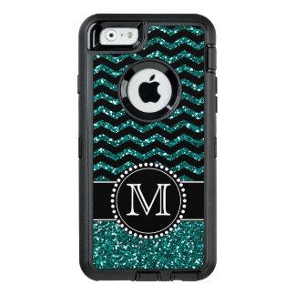 Blue Glitter Chevron Monogrammed Defender OtterBox Defender iPhone Case