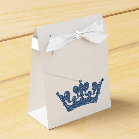 Blue Glitter Crown Prince Royal Party Favour Boxes
