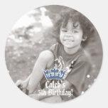 Blue Glitter Crown Royal Prince PHOTO Sticker