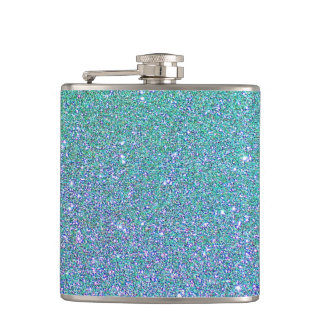 Blue Glitter Faux foil Hip Flask