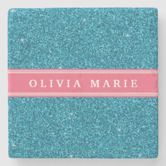 Blue Glitter (faux) Pink Personalized Name Stone Coaster