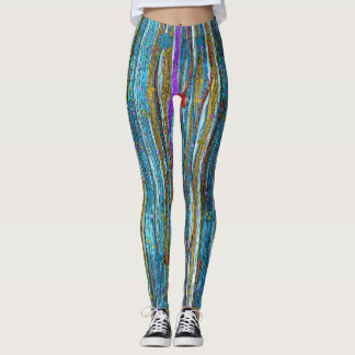 Blue Glitter & Golden Striped Pattern Leggings