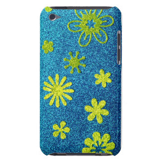 Blue Glitter & Green Flower Glam Barely There iPod Cover