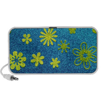 Blue Glitter & Green Flower Glam Notebook Speakers