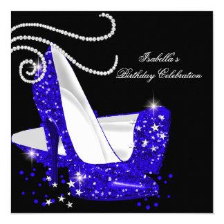 Blue Glitter High Heels Black Birthday Party Card