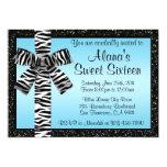 Blue Glitter Invite With Zebra Print Bow 13 Cm X 18 Cm Invitation Card
