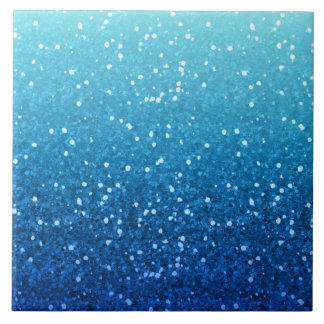 blue glitter large square tile