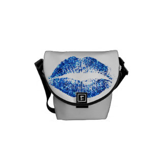 Blue Glitter Lips #2 Courier Bags